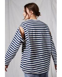 TOPSHOP - Stripe Cut Out T-shirt By Boutique - Lyst