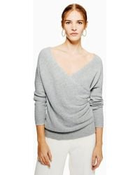 TOPSHOP - Pleat Wrap Jumper With Cashmere - Lyst