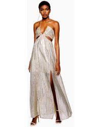TOPSHOP - Glitter Cut-out Maxi Dress - Lyst