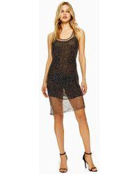 0484ba15b6e TOPSHOP Colour Block Tunic Dress in Black - Lyst