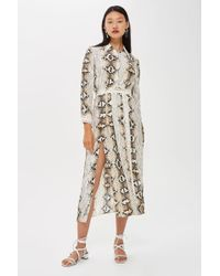 TOPSHOP - Faux Snake Pleated Shirt Dress - Lyst