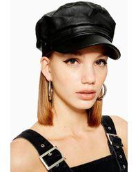 TOPSHOP - Pu Baker Boy Hat - Lyst