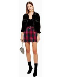 TOPSHOP - Heart Buckle Check Mini Skirt - Lyst