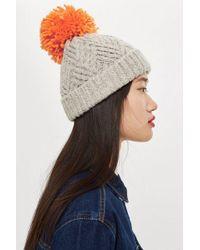 TOPSHOP - Chevron Knit Beanie Hat - Lyst