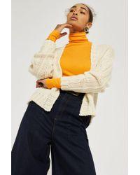 TOPSHOP - Tall Plait Sleeved Cardigan - Lyst