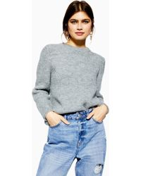 d2714c64c49da2 TOPSHOP Embroidered Velour Crop Sweater in Blue - Lyst