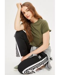 TOPSHOP - Petite Cropped Roll Back T-shirt - Lyst