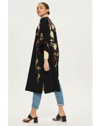 TOPSHOP - Black Embroidered Kimono - Lyst