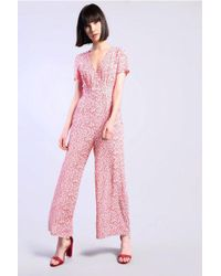 TOPSHOP - printed V-neck Jumpsuit By Tall - Lyst
