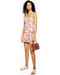 676cb5c10f2 TOPSHOP Petite Strappy Cami Tunic Dress in Gray - Lyst