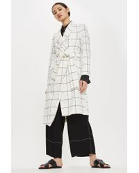 TOPSHOP - Belted Checked Coat - Lyst