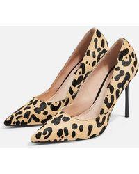 0bc3dfe829df TOPSHOP Gail Leopard Print Slingback Heels - Lyst