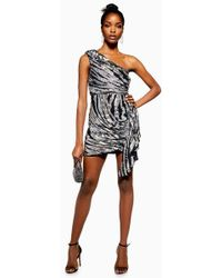 TOPSHOP - Zebra Print One Shoulder Embroidered Dress - Lyst d059abb04