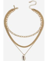 TOPSHOP - Oval Link Shell Drop Necklace - Lyst