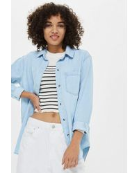 cab0620ff41 Topshop Maternity Oversized Chambray Shirt in Blue - Lyst