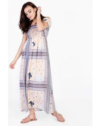 TOPSHOP - Border Print Bardot Maxi Dress - Lyst