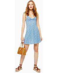 287bc9635a6a TOPSHOP - Petite Ditsy Twist Front Mini Sun Dress - Lyst
