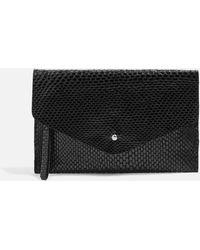 TOPSHOP - Leather Faux Snake Envelope Purse - Lyst