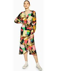 11f1a3d70e4 TOPSHOP Wrap Shirt Silk Dress By Boutique in Pink - Lyst