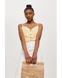 TOPSHOP - Yellow Button Through Camisole Top - Lyst