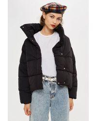 TOPSHOP - Black Wrap Puffer Jacket - Lyst