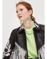 TOPSHOP - Silver Fringed Leather Jacket - Lyst