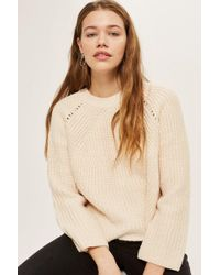 TOPSHOP - Pointelle Boxy Ribbed Jumper - Lyst