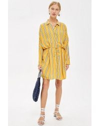 TOPSHOP - Petite Stripe Drawstring Shirt Dress - Lyst