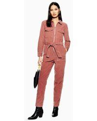 TOPSHOP - Corduroy Boiler Suit - Lyst