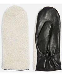 TOPSHOP - Borg Mitten Gloves - Lyst