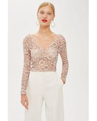 TOPSHOP - Lace Crop Plunge Top - Lyst