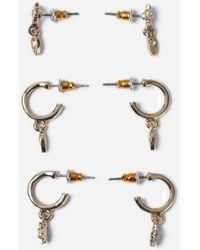 TOPSHOP - Rhinestone Chunky Drop Hoop Earrings - Lyst