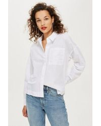 TOPSHOP - Long Sleeve Poplin Shirt - Lyst