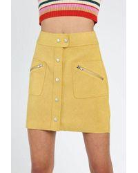 Honey Punch - mustard Button Textured Skirt By - Lyst