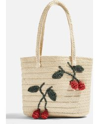 1c06739ee TOPSHOP - Fruity Cherry Straw Tote Bag - Lyst