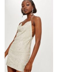 TOPSHOP - Brushed Sequin Cowl Neck Dress - Lyst
