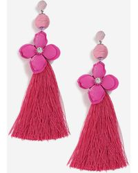 TOPSHOP - Rhinestone Flower And Tassel Earrings - Lyst