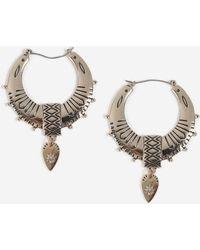 TOPSHOP - Engraved Drop Hoop Earrings - Lyst