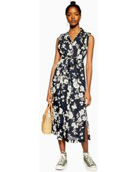 TOPSHOP - Belted Floral Sleeveless Dress - Lyst