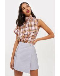 TOPSHOP - Asymmetric Wrap Mini Skirt - Lyst