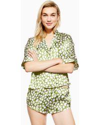 TOPSHOP - Animal Print Satin Pyjama Shorts - Lyst