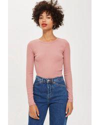 TOPSHOP - Long Sleeve Scallop T-shirt - Lyst