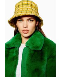 TOPSHOP - Yellow Checked Bucket Hat - Lyst