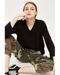TOPSHOP - Cashmere Directional Ribbed Jumper - Lyst