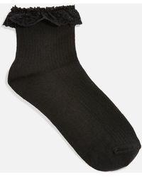 TOPSHOP - Lace Trim Ankle Socks - Lyst