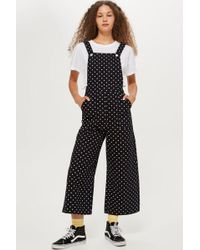 TOPSHOP - Spot Cropped Denim Jumpsuit - Lyst