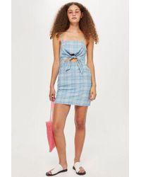 TOPSHOP - Checked Denim Mini Dress - Lyst