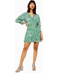 TOPSHOP Animal Pintuck Shirt Dress