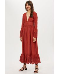 TOPSHOP - Embroidered Plunge Midi Dot Dress - Lyst