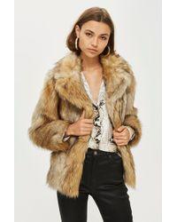 TOPSHOP - Vintage Faux Fur Coat - Lyst
